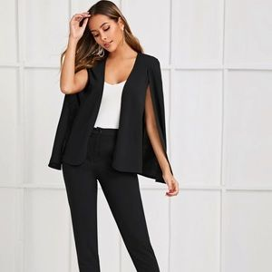 Solid Black Cape Blazer